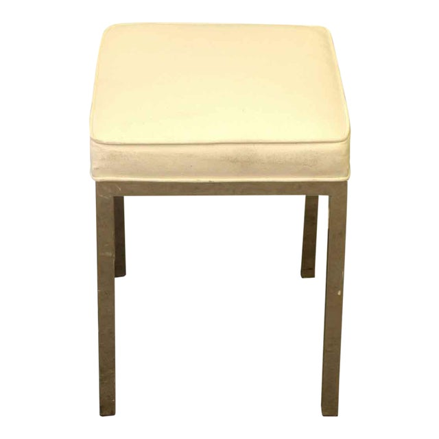 Antique White Square Stool For Sale