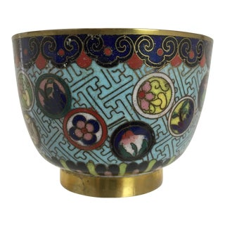 Antique Chinese Cloisonne Cup Bowl With Flower Ball Designs For Sale