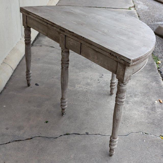 Late 19th Century Antique French Demi-Lune Console For Sale - Image 4 of 13