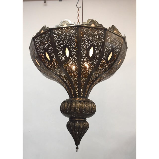 Large Brass Moroccan Chandelier For Sale - Image 4 of 12