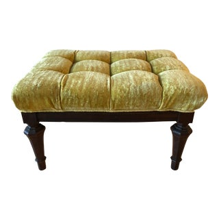 19th Century Tufted Mustard Velvet Footstool