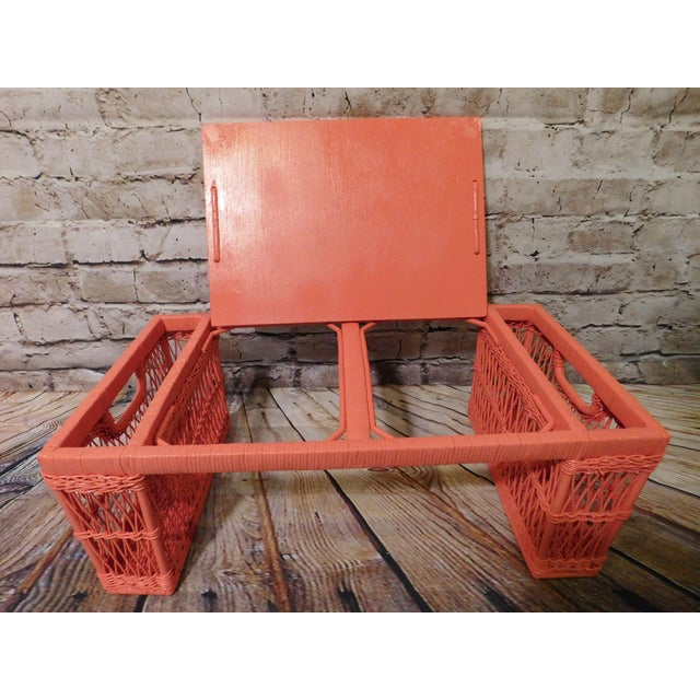 Vintage Coral Painted Wicker Bed Tray - Image 6 of 7