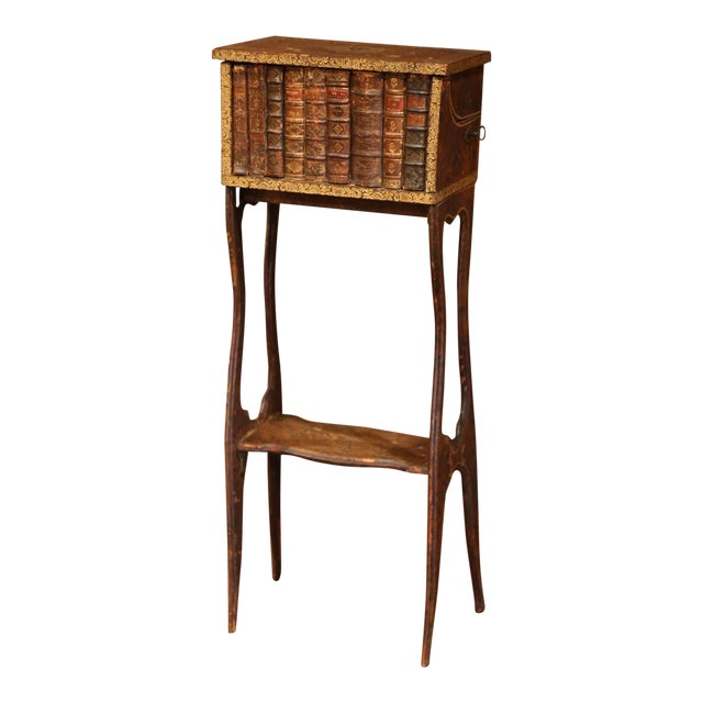 Early 19th Century French Faux Leather Bound Books Liquor Cabinet With Glasses For Sale