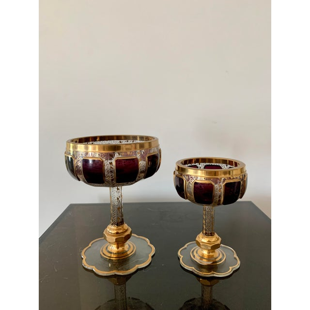 Gold 1930s Moser Bohemian Crystal Cabochon Coupes- Set of 4 For Sale - Image 8 of 9