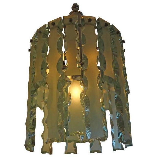 Fontana Arte 1960's Italian Zero Quattro -Fontana Arte Frosted Glass Lantern or Chandelier For Sale - Image 4 of 12