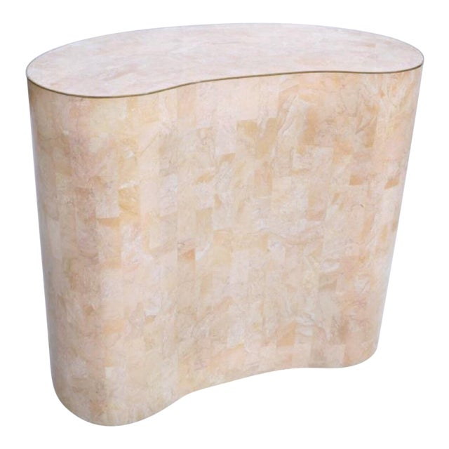 Final Markdown Maitland-Smith Tessellated Pink Marble Kidney Side Table - Image 5 of 6