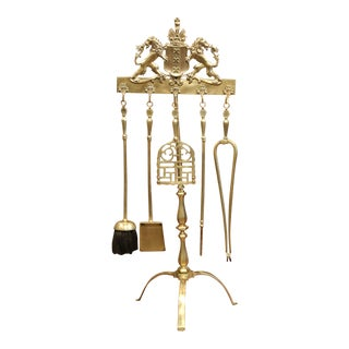 19th Century French Brass Fireplace Tool Set on Stand with Coat of Arms For Sale