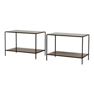 'Rectiligne' Mirrored End Tables by Design Frères - a Pair For Sale