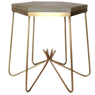 Richer Leather Top Side Table For Sale