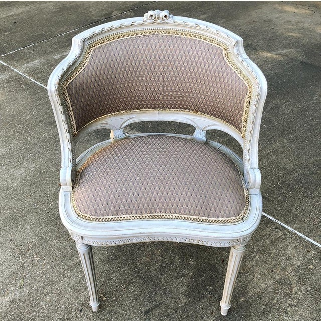 Wood Antique French Louis XVI Painted Armchairs - a Pair For Sale - Image 7 of 10