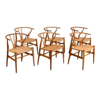 1950s Hans Wegner Oak Wishbone Dining Chairs - Set of 6 For Sale
