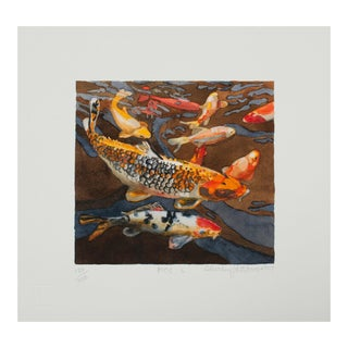 "Shirley Pettibone ""Koi 6"" Nature Watercolor Giclee Print Limited 3/200 Signed For Sale"