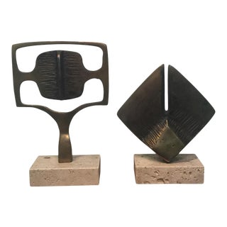 1970s Modernist Bronze and Travertine Marble Sculptures - a Pair For Sale