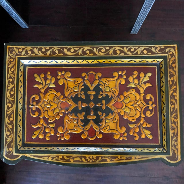 1980's Vintage Hand Painted Moroccan Style Chest For Sale - Image 4 of 8