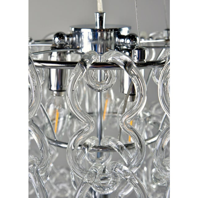 Mid-Century Giogali Glass Link Chandelier by Mangiarotti for Vistosi For Sale - Image 11 of 13