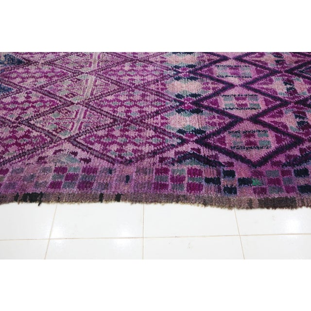 """1970s Boujad Vintage Moroccan Rug - 6'8"""" X 12'3"""" For Sale - Image 5 of 6"""