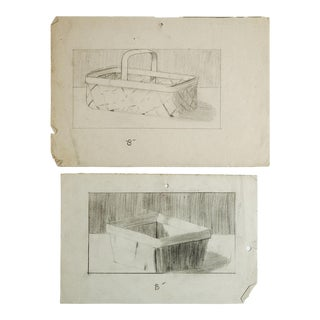 Baskets Pencil Study Drawings- A Pair For Sale