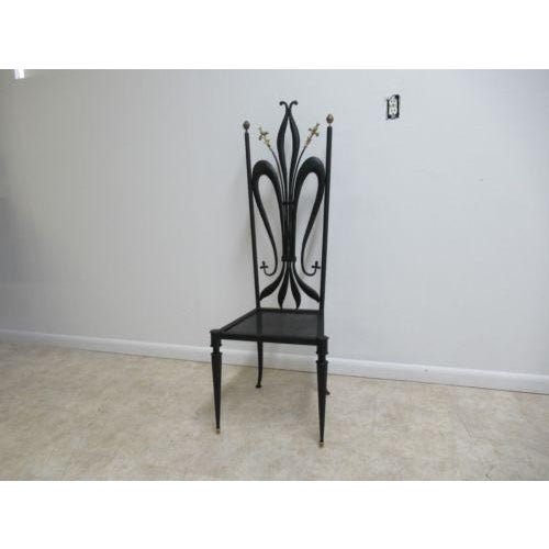 Gothic Vintage Hollywood Regency Bronze Accent Metal Tall Back Throne Desk Side Chair For Sale - Image 3 of 10