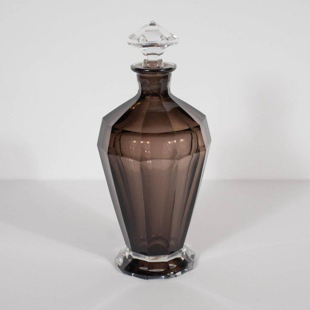 Art Deco French Art Deco Seven Piece Smoked Glass Bar Set with Decanter and Shot Glasses For Sale - Image 3 of 9