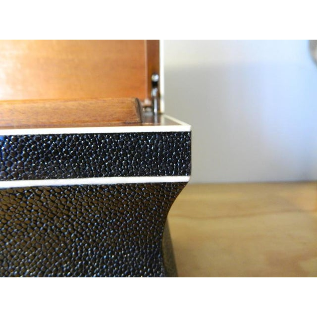 Beautiful Black shagreen box with bone inlay. Galart specializes in boxes, humidors, trays, lamps and other high quality...