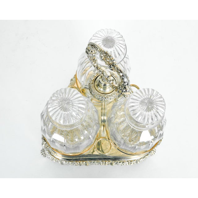 English Traditional Old English Sheffield Silver Plated Decanter Bottles & Caddy - Set of 4 For Sale - Image 3 of 5
