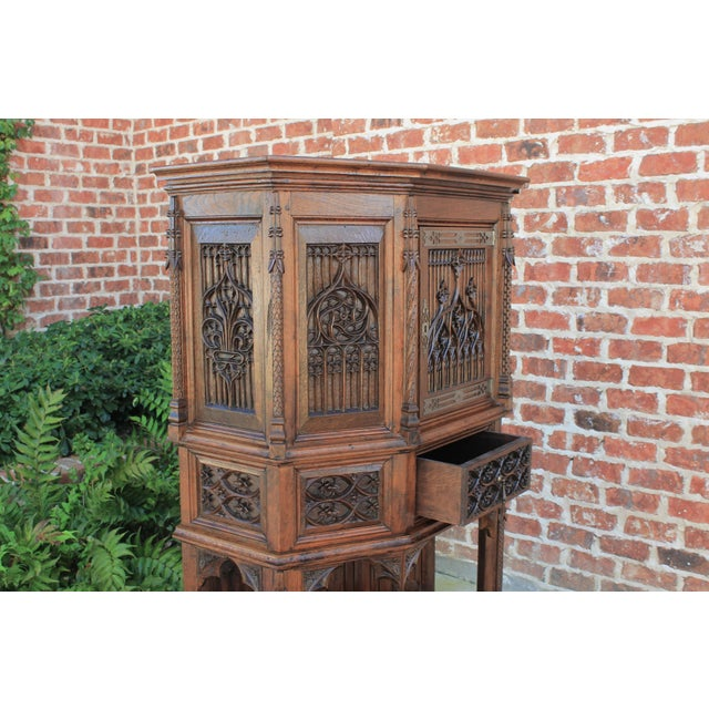 Antique French Gothic Vestry Sacristy Cabinet Oak 19th Century For Sale - Image 10 of 13