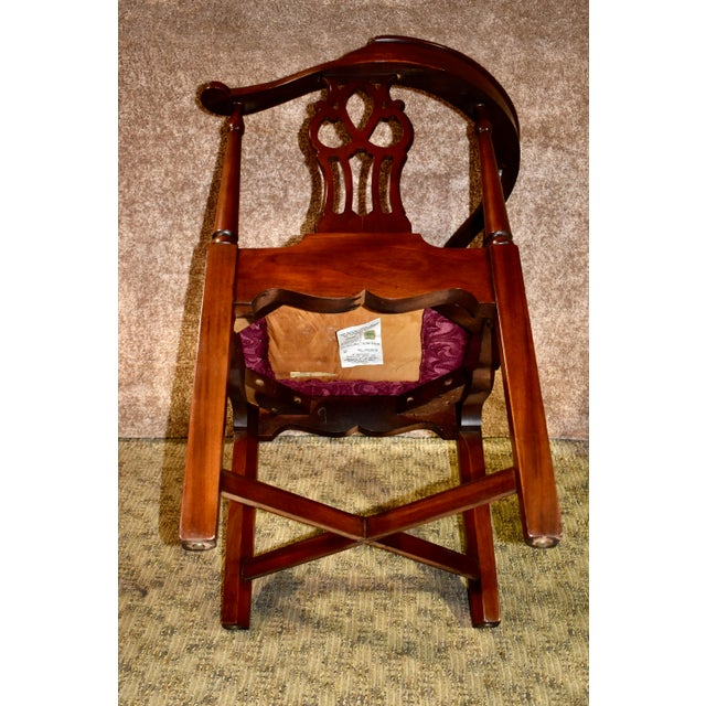 Chippendale Vintage Chippendale Hickory Chair Solid Mahogany Style Corner Chair For Sale - Image 3 of 13
