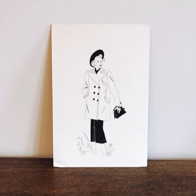 Paper 1940s Fashion Sketch For Sale - Image 7 of 7
