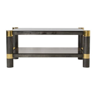 Karl Springer Smoked Glass Coffee Table For Sale