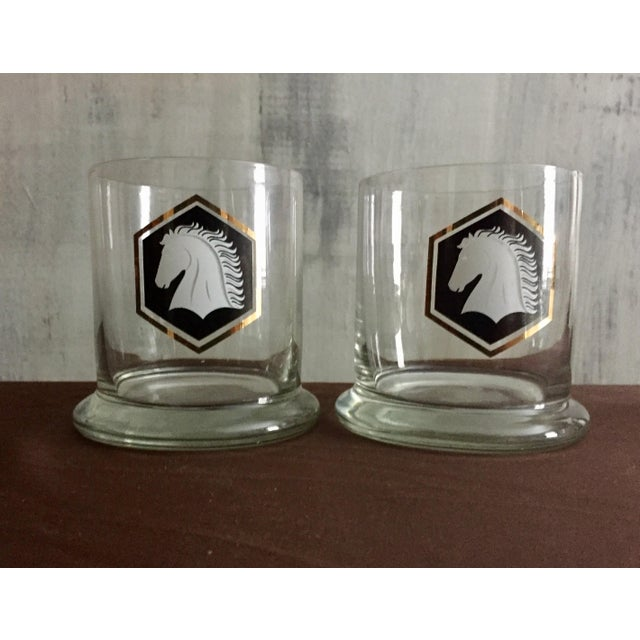 Vintage Black and Gold Horse Glasses - A Pair - Image 2 of 3