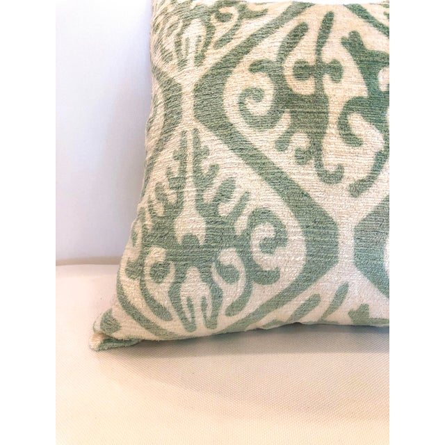 Boho Chic Cream and Sea Foam Ikat Velvet Pillows - a Pair For Sale - Image 3 of 6