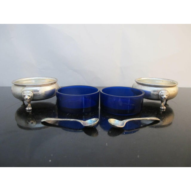 Sterling Silver Amston 415 Lion Feet Open Salt Bowls with Cobalt Liners and Spoons - a Pair For Sale - Image 4 of 9