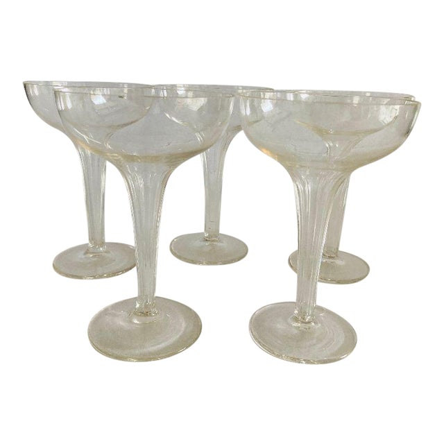 Mid-Century Ribbed Hollow Stem Champagne Glasses - Set of 5 For Sale