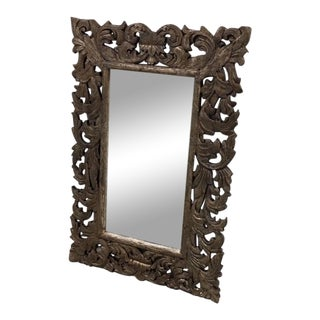 Boho Chic Distressed Carved Mirror For Sale