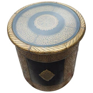 Moroccan Metal Inlay Cylindrical Shape End Table For Sale