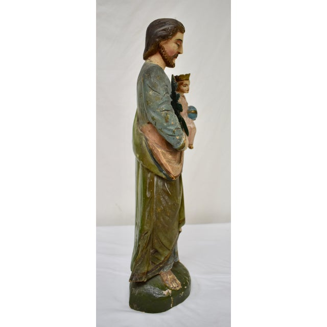 Fruitwood Hand-Carved Wooden Sculpture of Saint Joseph and the Christ Child For Sale - Image 7 of 13