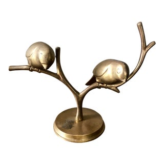 Mid Century Brass Birds Sculpture For Sale