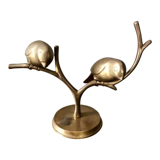 Mid Century Brass Birds Sculpture For Sale