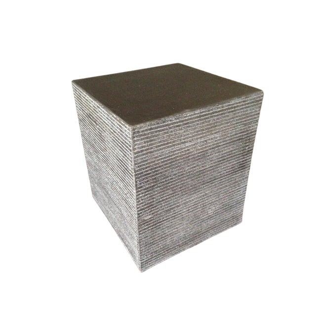 Cerused Cube Accent Table For Sale - Image 4 of 4