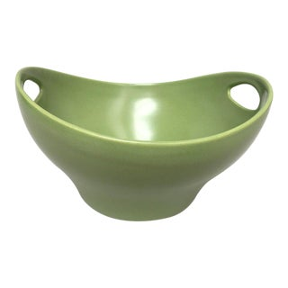 Scandinavian Modern Large Hoganas Keramik Green Ceramic Serving Bowl For Sale