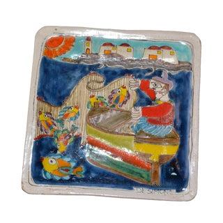 Italian Giovanni Desimone Hand Painted Art Pottery Square Decor Plate, Fisherman For Sale