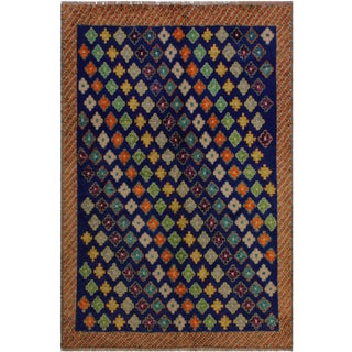 Southwestern Balouchi Florenti Blue/Orange Wool Rug - 5'1 X 6'7 For Sale