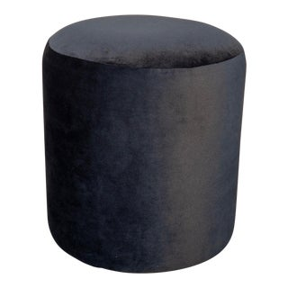 Modern Black Velvet Pouf For Sale