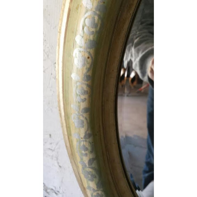 Round Wood Painted Shabby Chic Mirror - Image 6 of 6