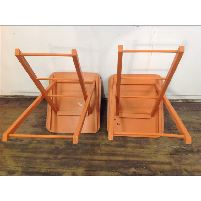 Orange Mid Century Collapsible Side Tables - Pair - Image 8 of 11
