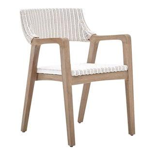 Urbane Arm Chair, White, Rattan For Sale