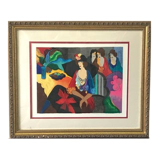 Itzchak Tarkay, 'Gossip' Signed Limited Edition Serigraph Print For Sale