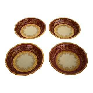 Heinrich and Co. Selb H & C Bavaria German Porcelain Red and Gold Encrusted Berry Bowl - Set of 4 For Sale
