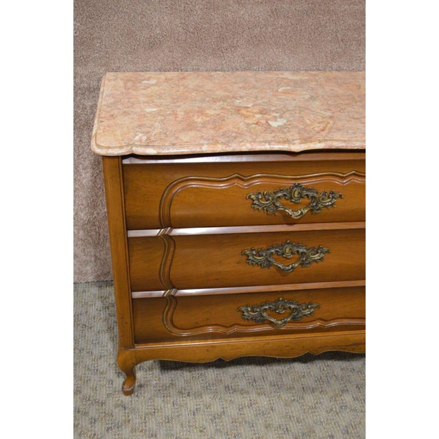 Pink 1950s French Provincial Solid Cherry Marble Top Dresser For Sale - Image 8 of 13
