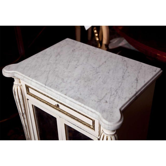 Maison Jansen White Painted Marble-Top Cabinets by Jansen - Pair For Sale - Image 4 of 9